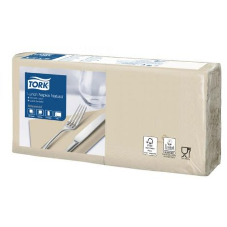 Tork Lunchservet 33x33cm 2-laags 1/4 vouw 10x200 Naturel