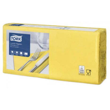 Tork lunchservet 33x33cm 2-laags 1/4-vouw passion yellow 10x200