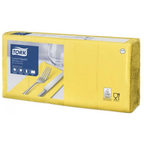 Tork lunchservet 33x33cm 2-laags 1/8-vouw passion yellow 10x200