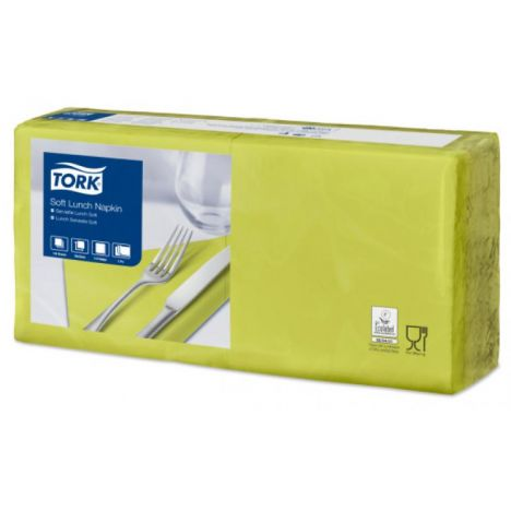 Tork lunchservet 33x33cm 3-laags 1/4-vouw lime 10x150
